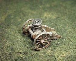 Mortar on wheel carriage